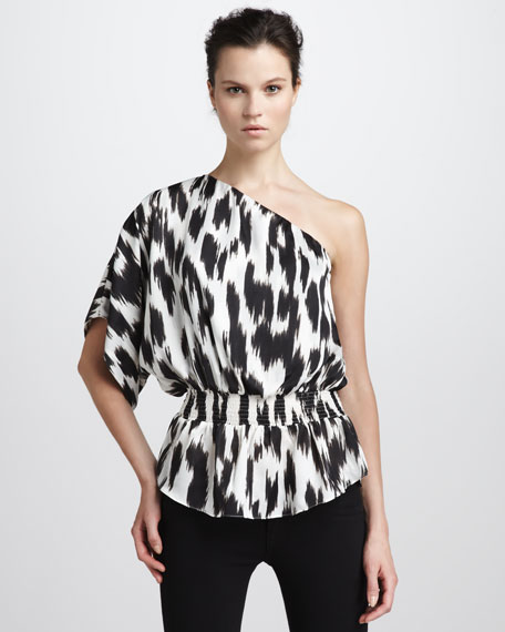 One-Shoulder Printed Blouse