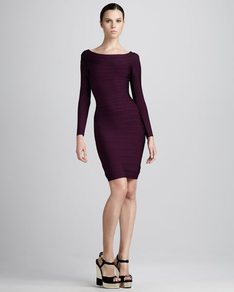 Long-Sleeve Bandage Dress, Bordeaux