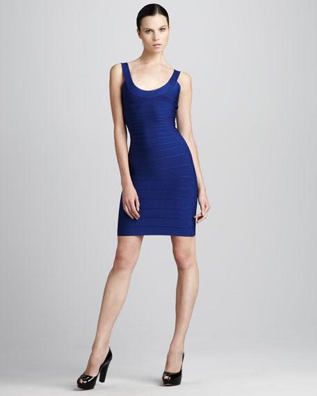 Basic Scoop-Neck Bandage Dress, Ultramarine