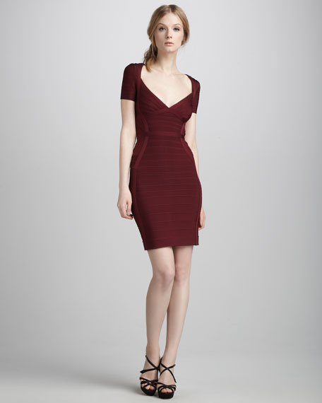 Short-Sleeve Bandage Dress