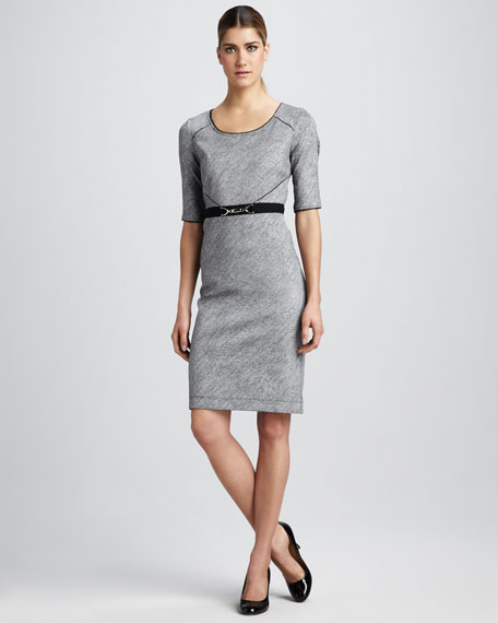 Belted Scoop-Neck Dress