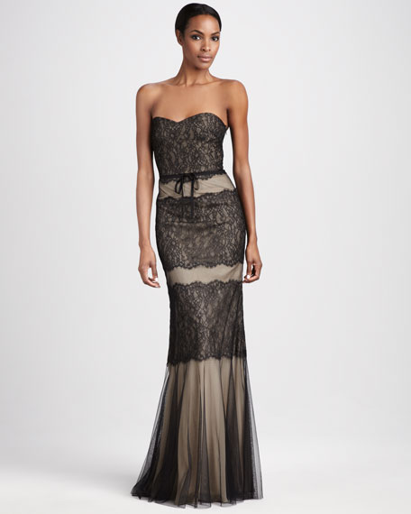 Belted Lace Sweetheart Gown