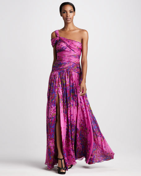 Floral-Print Ruched Gown