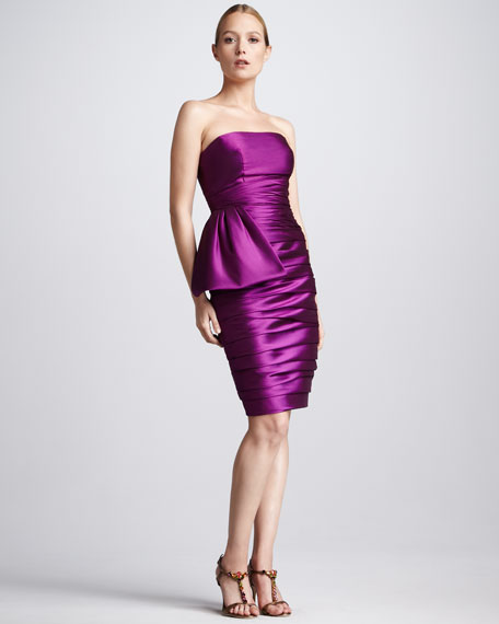 Ruched Faille Cocktail Dress