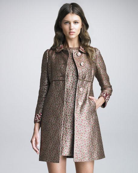 Embellished-Collar Brocade Coat