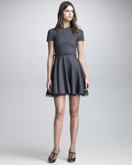 Point d'Esprit Trimmed Tweed Dress