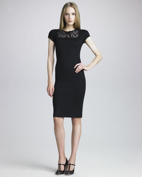 Lace-Yoke Ponte Dress