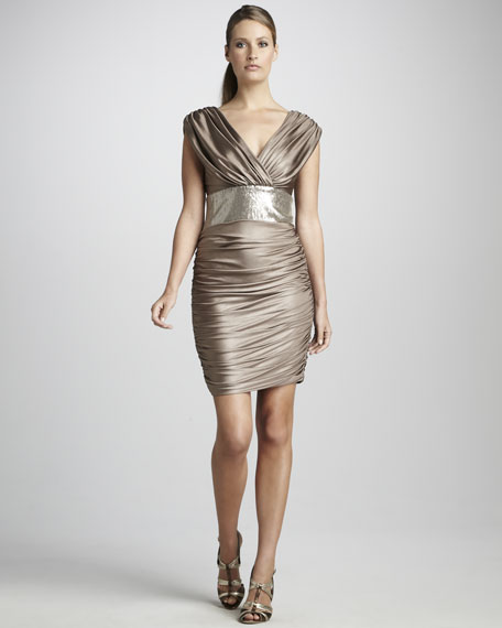 Sleeveless Cocktail Dress with Sequined Waistband