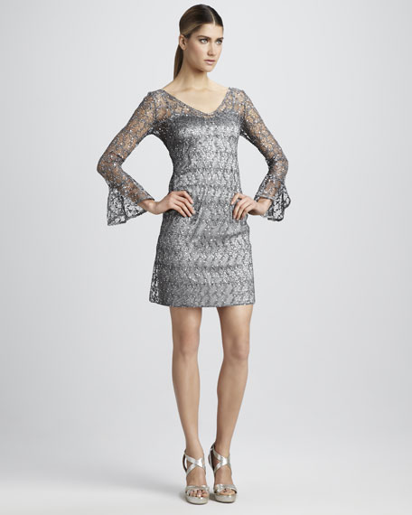 Sequined Bell-Sleeve Cocktail Dress