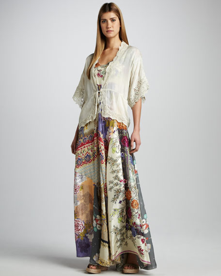 Mixed-Print Silk Maxi Dress
