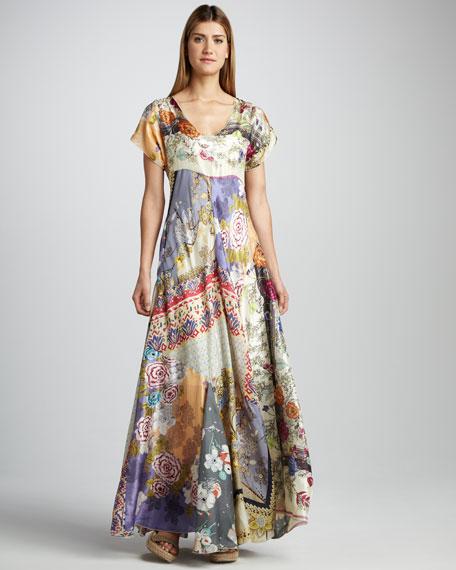 Mixed-Print Silk Maxi Dress