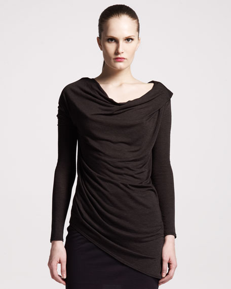 Kinetic Jersey Asymmetrical Cowl Tee