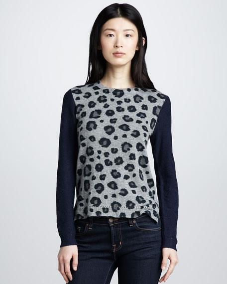 Leopard-Print Blocked Sweater