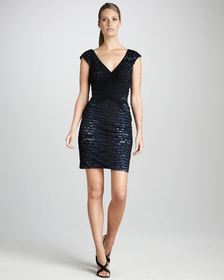 Ruched Animal-Print Cocktail Dress