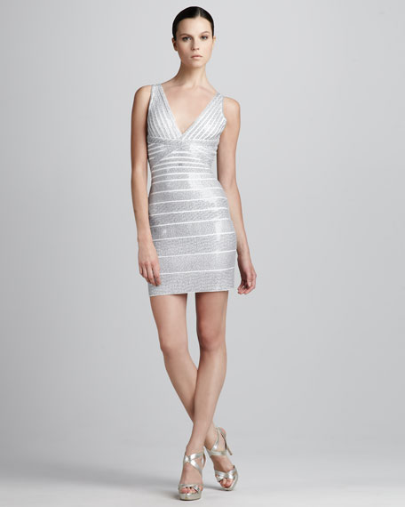 Sequined V-Neck Bandage Dress