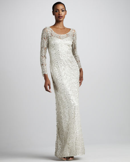 Bracelet-Sleeve Beaded Gown