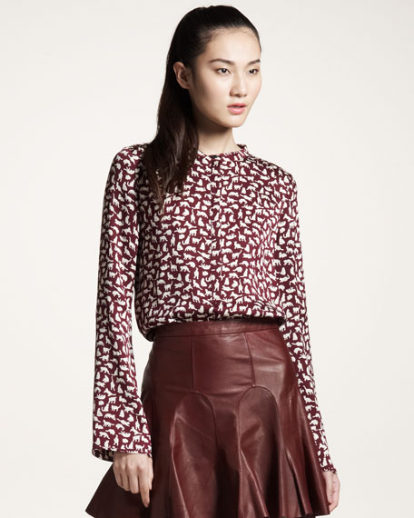 Kitty-Print Blouse