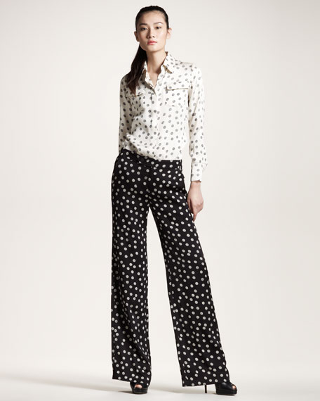 Yarn Ball-Print Wide-Leg Pants