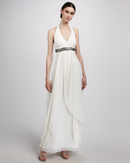 Halter-Neck Bead-Trim Gown