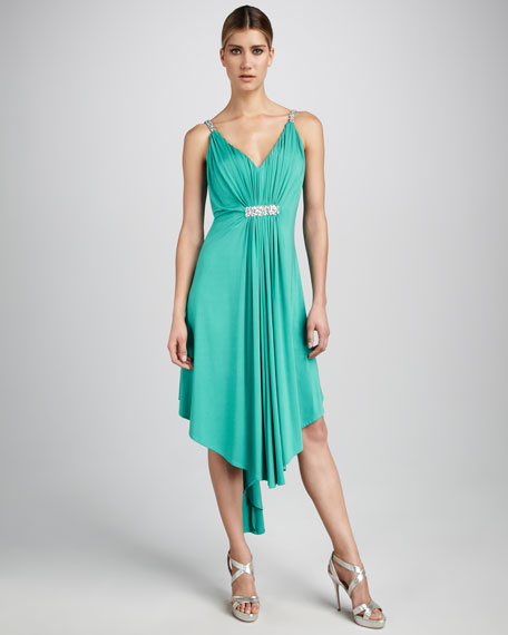 Jewel-Bodice High-Low Dress