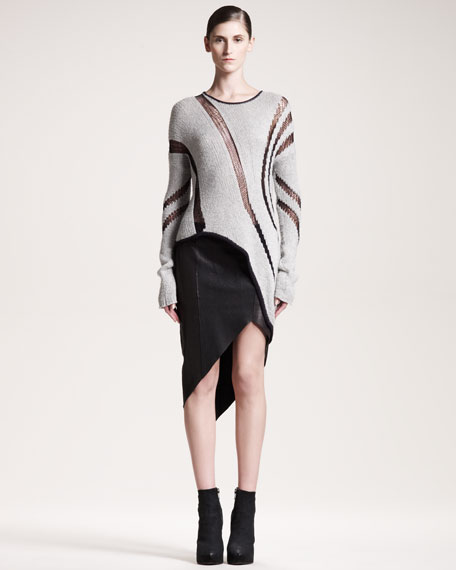 Petrol Asymmetric Leather Skirt