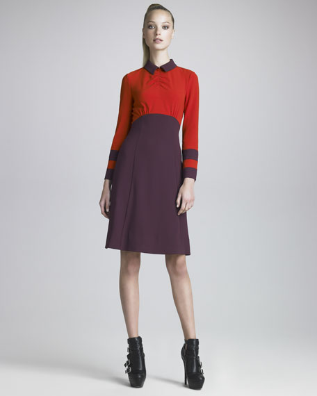 Anya Colorblock Crepe Dress