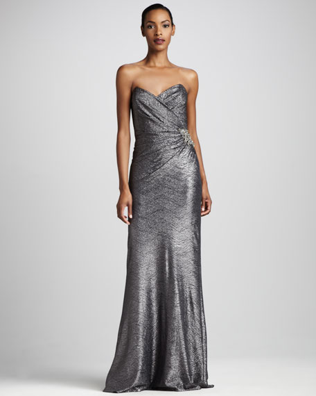 Gathered Metallic Gown