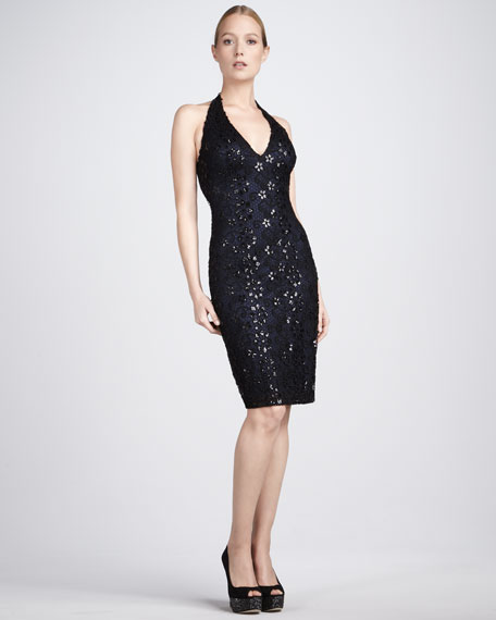 Beaded Halter Cocktail Dress