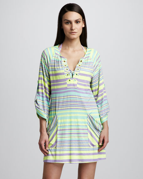 Seaside Striped Tunic Coverup, Neon Citrus