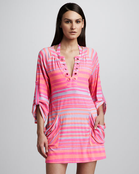 Seaside Striped Tunic Coverup, Hot Coral