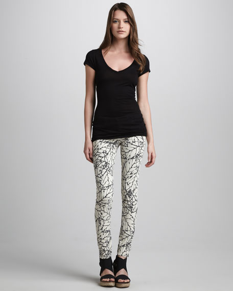 Paige Denim Skyline Leaf-Print Leggings