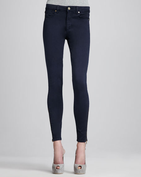 Hoxton Skinny Zipper-Cuff Jeans, Navy