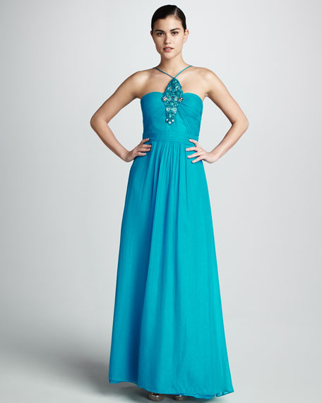 Beaded Halter-Neck Gown