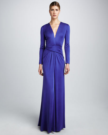 Crisscross Silk Maxi Dress