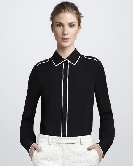 Lara Tipped Shirt, Black