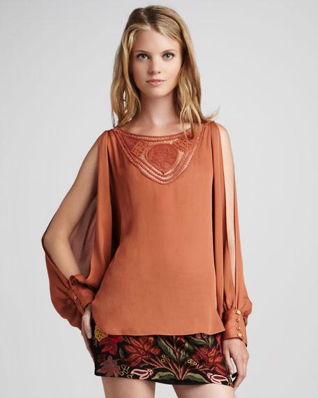 Slit-Sleeve Silk Blouse