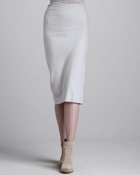 Crushed Crepe Skirt, Pearl