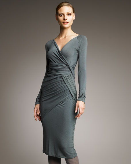 Ruched-Panel Jersey Dress