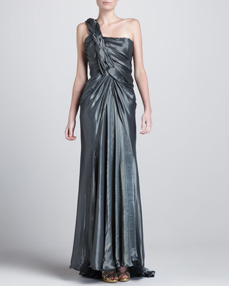 Braided-Shoulder Metallic Gown, Solstice