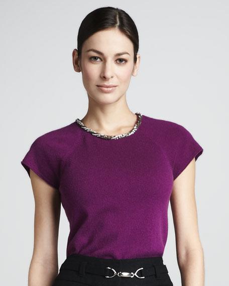 Embellished Short-Sleeve Sweater