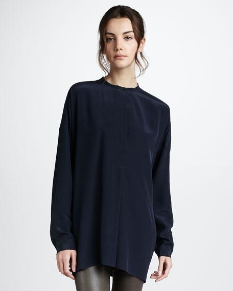 Oversized Silk Shirt, Coastal