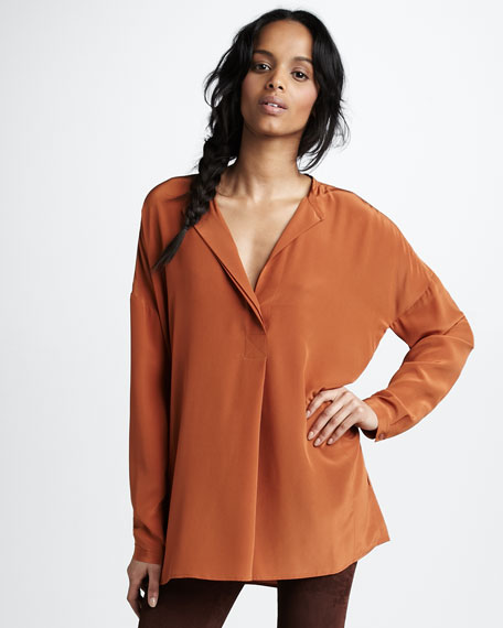 Oversized Silk Shirt, Gingersnap