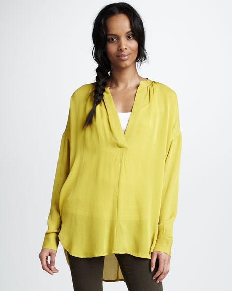 Shirred V-Neck Silk Shirt, Citrine