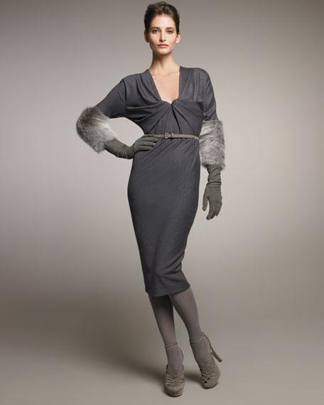 Tucked Front Knit Melange Dress