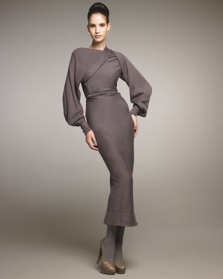 Belted Drape-Shoulder Dress