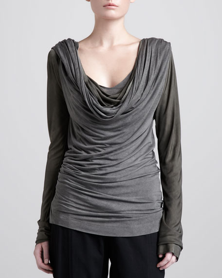 Cowl-Neck Draped Top