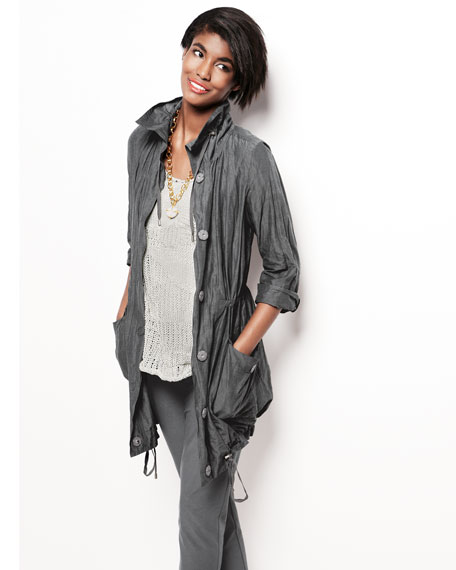 Crinkled Long Jacket, Petite