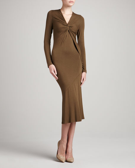 Long-Sleeve Twisted Jersey Dress, Caramel