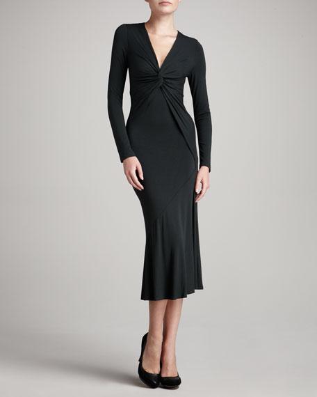 Long-Sleeve Twisted Jersey Dress, Styx