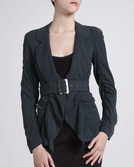 Belted Romantic Ruched Jacket